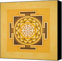 Yellow Mixed Media Canvas Prints - Golden Sri Yantra Canvas Print by Piitaa - Sacred Art