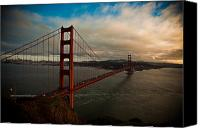 Golden Gate Canvas Prints - Golden Sunset Canvas Print by Patrick  Flynn