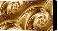 Gold Metal Canvas Prints - Golden Waves Canvas Print by Anastasiya Malakhova