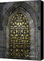 Brass Canvas Prints - Golden Window - St Vitus Cathedral Prague Canvas Print by Christine Till