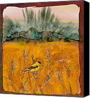 Dyes Tapestries - Textiles Canvas Prints - Goldfinch in the wheat Canvas Print by Carolyn Doe