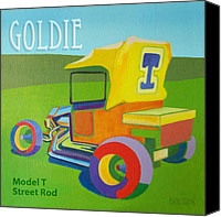 Transportation Painting Canvas Prints - Goldie Model T Canvas Print by Evie Cook