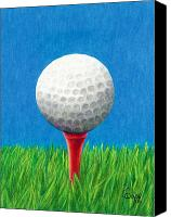 Sports Canvas Prints - Golf Ball and Tee Canvas Print by Janice Dunbar