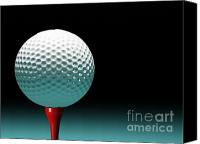 Golfing Canvas Prints - Golf Ball Canvas Print by Gualtiero Boffi