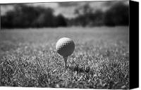Golfing Canvas Prints - Golf Ball On The Tee Canvas Print by Joe Fox