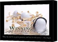 Leisure Canvas Prints - Golf Motivational Poster Canvas Print by Tom Mc Nemar