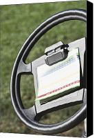 Cart Driving Canvas Prints - Golf Scoring Card on Golf Cart Steering Wheel Canvas Print by Jetta Productions, Inc