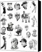 Celebrities Drawings Canvas Prints - Golfers Canvas Print by Murphy Elliott