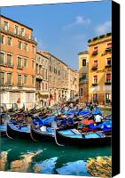 Venice Canvas Prints - Gondolas in the Square Canvas Print by Peter Tellone
