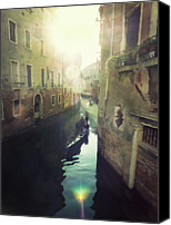 Adults Only Canvas Prints - Gondolas In Venice Against Sun Canvas Print by Marco Misuri