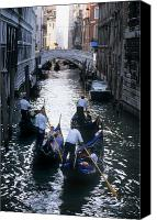 Gondoliers Canvas Prints - Gondoliers Steer Their Gondolas Canvas Print by O. Louis Mazzatenta
