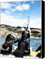 Montana Digital Art Canvas Prints - Gone Fishing Canvas Print by Susan Kinney