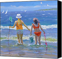 Bathing Painting Canvas Prints - Gone Fishing  Canvas Print by William Ireland 
