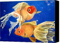 Blue Canvas Prints - Good Luck Goldfish Canvas Print by Samantha Lockwood