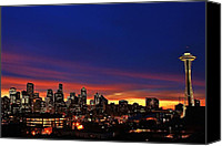 Seattle Skyline Canvas Prints - Good Morning Seattle Canvas Print by Benjamin Yeager