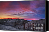 Sand Fences Canvas Prints - Good Night Cape Cod Canvas Print by Susan Candelario