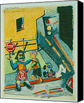Urban Scenes Drawings Canvas Prints - Good Samaritans Canvas Print by David Martin