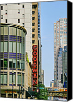 Street Scene Canvas Prints - Goodman Memorial Theatre Chicago Canvas Print by Christine Till