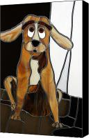 Dogs Glass Art Canvas Prints - Goofy Dog Canvas Print by Jane Croteau