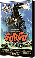 1960s Poster Art Canvas Prints - Gorgo, French Poster Art, 1961 Canvas Print by Everett
