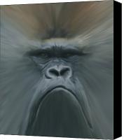 Primates Canvas Prints - Gorilla Freehand abstract Canvas Print by Ernie Echols