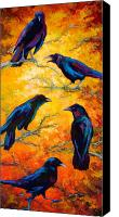 Crows Canvas Prints - Gossip Column II Canvas Print by Marion Rose