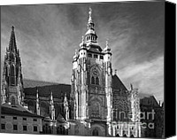 Bw Canvas Prints - Gothic Saint Vitus Cathedral in Prague Canvas Print by Christine Till