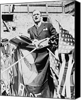 Usa President Canvas Prints - Gov. Franklin Roosevelt Speaking Canvas Print by Everett