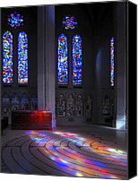 Catholic Church Canvas Prints - Grace Cathedral Walking Labyrinth - San Francisco Canvas Print by Daniel Hagerman