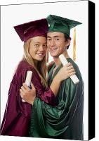 Success Photo Canvas Prints - Graduation Couple Canvas Print by Tomas del Amo