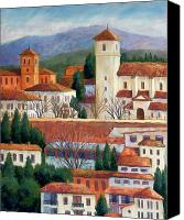 Trees Pastels Canvas Prints - Granada View Canvas Print by Candy Mayer