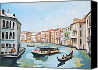 Landmarks Mixed Media Canvas Prints - Grand Canal 2 Canvas Print by Filip Mihail