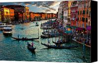 Gondola Canvas Prints - Grand Canal Sunset Canvas Print by Harry Spitz