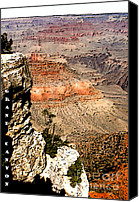 Location Digital Art Canvas Prints - Grand Canyon Cliff Canvas Print by Linda  Parker