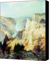 Yellowstone Park Canvas Prints - Grand Canyon of the Yellowstone Park Canvas Print by Thomas Moran