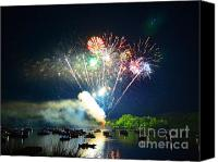 July 4th Canvas Prints - Grand Finale of Fireworks Over The Lake2 Canvas Print by Sandi OReilly
