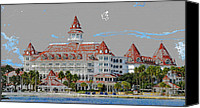 Hotel Digital Art Canvas Prints - Grand Floridian in Summer Canvas Print by David Lee Thompson