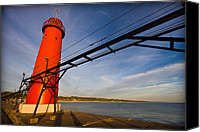 Seashore Canvas Prints - Grand Haven Lighthouse Canvas Print by Adam Romanowicz