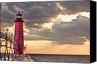 Storm Prints Canvas Prints - Grand Haven Lighthouse HDR Canvas Print by Jeramie Curtice
