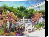 Digital Canvas Prints - Grand Hotel Gardens Mackinac Island Michigan Canvas Print by Betsy Foster Breen