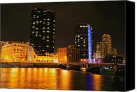 City Scapes Canvas Prints - Grand Rapids MI under the lights-2 Canvas Print by Robert Pearson