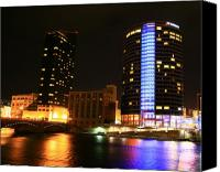 City Scapes Canvas Prints - Grand Rapids MI under the lights-4 Canvas Print by Robert Pearson