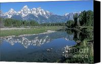Grand Teton Canvas Prints - Grand Teton Reflection at Schwabacher Landing Canvas Print by Sandra Bronstein