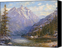 Pine Trees Canvas Prints - Grand Tetons and Jenny Lake Tryptych Center Canvas Print by Lewis A Ramsey