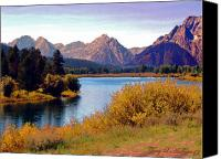 Terry Digital Art Canvas Prints - Grand Tetons and Snake River Canvas Print by Terry Anderson