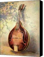 Guitar Painting Canvas Prints - Grandaddys Mandolin Canvas Print by Andrew King