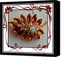 Topaz Brooch Canvas Prints - Grandmas Brooch with Digital Frame Canvas Print by Barbara Griffin