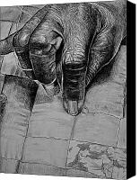 Charcoal Drawing Canvas Prints - Grandmas Hands Canvas Print by Curtis James