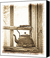 Cabin Window Canvas Prints - Grandmas Kettle Canvas Print by Steve McKinzie