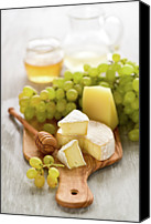 Food And Drink Canvas Prints - Grape, Honey And Cheese Canvas Print by Verdina Anna